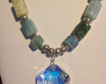 Swarovski Crystal Shell Pendant On Aquamarine Necklace With Pearls and Sterling Silver Beads