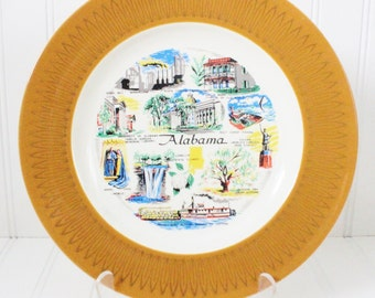 vintage plate, collectible Alabama plate, wall plate, decorative plate, collectible