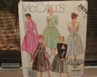 1986 mc calls pattern- dress for dinner- v back and bow- sz 14 still nice RARE OOAK