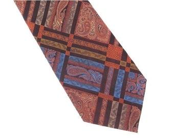 ON SALE Brittania Polyester Necktie, Vintage Men's Tie in Rust, Blue, Gold, and Brown, 1970 Mens Necktie