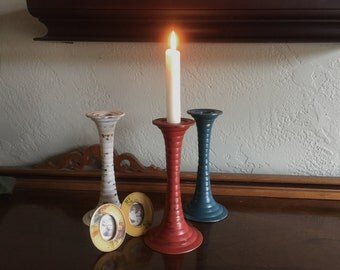 Shabby Chic Teal, Orange, and Antique White Set of 3 Painted Brass Candlesticks