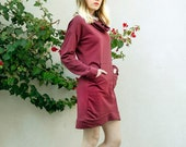 RESERVED For Amy >> SALE Cowl Neck Dress, Pullover Dress, Red Sweater Dress, Long sleeves tunic, Marsala Red Dress