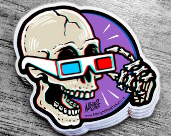 Skull Wearing 3D Glasses - Sticker Decal - FREE US SHIPPING