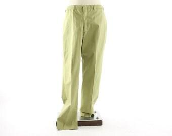 Vintage 70s  Plaid Pants 34 Waist Light Green Preppy Rockabilly Cotton 1970s Flat Front Trousers Golf