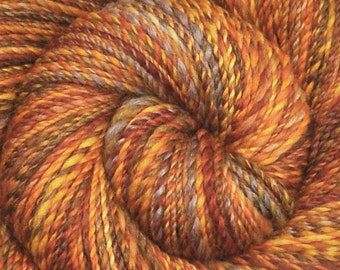 Handspun yarn - Silk / BFL Wool / Mixed Fiber, Worsted weight - 240 yards -Tiger Dreams Too