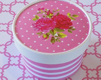 Pink and Rose Garden Party Ice Cream, Soup, Favor Cup with Lids - Set of 12