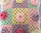 Crochet cushion in pastel coloured wool with crochet flowers,crochet,vintage,flowers