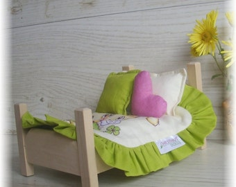 Handmade wooden bed for dolls
