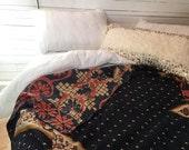 Kantha Quilt, Bohemian Bedding, Indian Quilt, Boho Decor, Kantha Throw, Red, Black