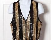 90s Shiny Gold Black Sequin Vest AJ - S
