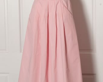 Vintage Womens Long Light Pink Pleated Skirt - idioms - 5/6