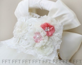 Ivory Flower Girl Dress With Coral, Tutu Dress