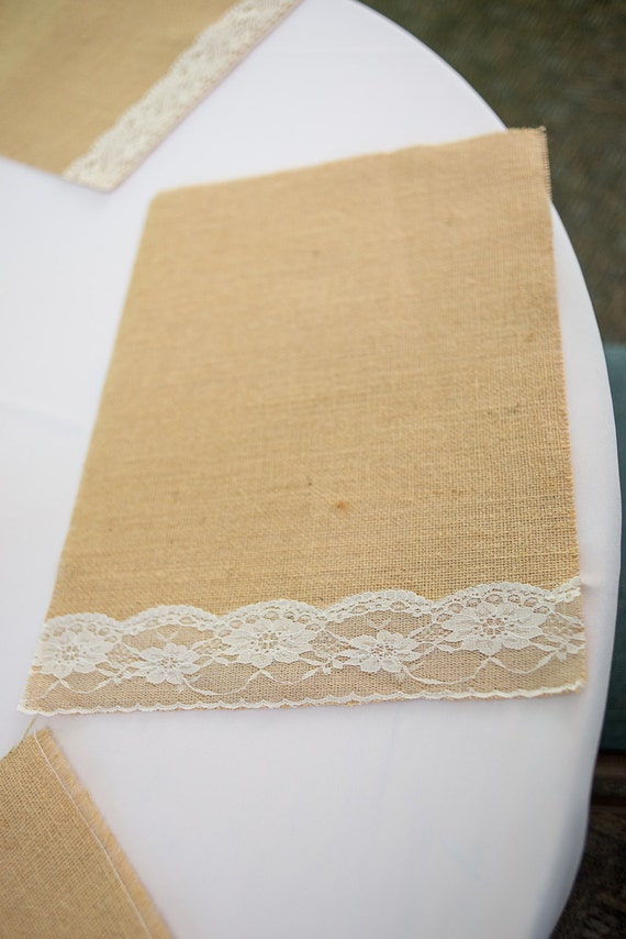 Items Similar To Burlap Placemats Burlap And Lace