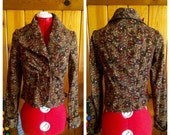 Vintage 1970's corduroy jacket brown with flowers mint condition S XS