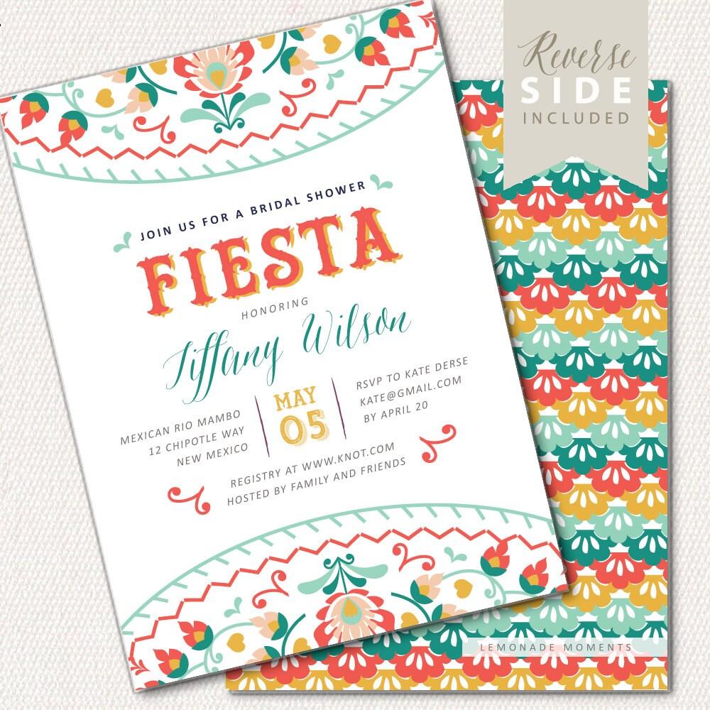 Fiesta Bridal Shower Invitation Mexican Shower Invite Bridal