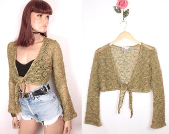90s crochet top // bell sleeves