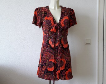 60s boho hippie psychedelic floral dress