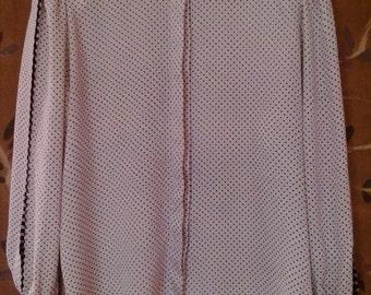 80s Louis Feraud polka dot silk blouse