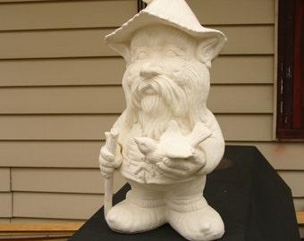 Ceramic Bisque Gnome with Cane an Bird