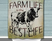Farm Life is the Best Life Shower Curtain: Rustic Diary Cow Farmhouse Chic | 12 Eyelet/Button Hole | Size and Pricing via Dropdown