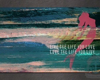 Placemat - Love the Life you Live | Bob Marley Quote Mermaid Inspirational Decor | Anti Skid/Non Slip Fabric Top Rubber Backed Awesomeness