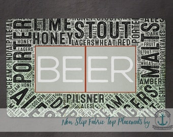 Placemat - Beer Typography | Beer Styles Kitchen Decor | Anti Skid/Non Slip Fabric Top Rubber Backed Awesomeness