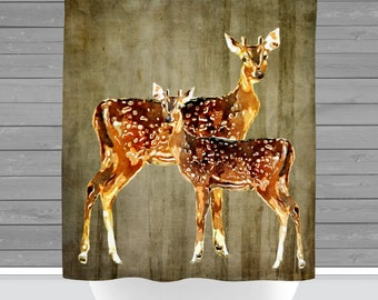 Deer Shower Curtain: Rustic Lodge Wilderness Inspired | 12 Eyelet/Button Hole | Size and Pricing via Dropdown