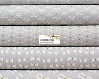 Cloud Grey Metallic Wee Sparkle FAT QUARTER BUNDLE from Michael Miller's Wee Sparkle Collection - 5 fabrics