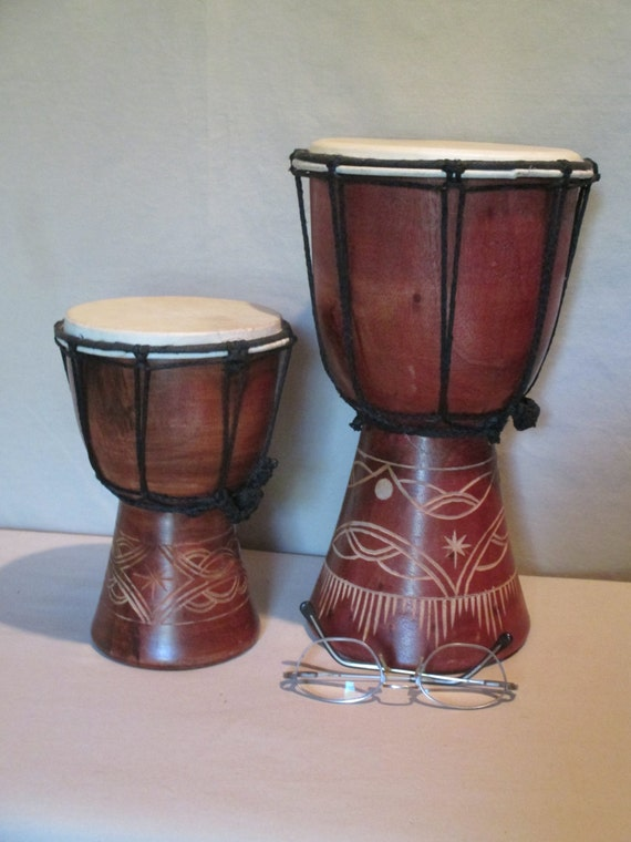 Pair Of Bongo Drums Vintage Handcarved From Tree Trunk