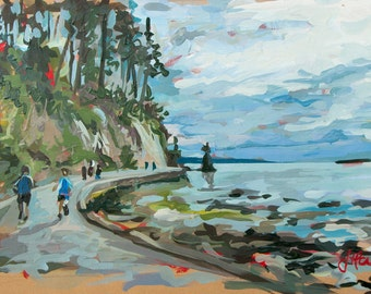 "Original Painting of Vancouver // Stanley Park Run (Vancouver no. 58) // 12"" x 8"" // Original Acrylic Painting on Paper"