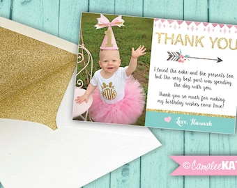 Arrow Photo THANK YOU NOTES - personalized printable digital file 4x6 - Tribal Boho Birthday - Pink, Blue & gold glitter arrows flowers