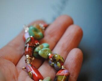 Moroccan tajine ...Artisan bracelet Vibrant orange floral Turquoise