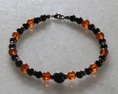 Nuummite Amber Black jet and Tourmaline bracelet