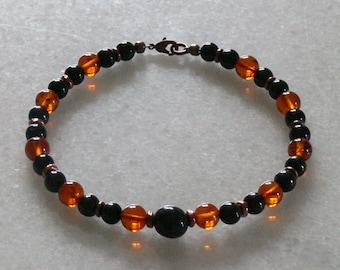 Nuummite Amber Black jet and Tourmaline bracelet