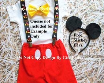 Mickey Mouse Birthday outfit cake smash costume shorts invitation photo prop bow tie FREE ears suspenders 1st 2nd 3rd 9 12 18 24 2T toddler