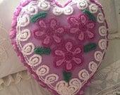Vintage Chenille Daisy Heart Pillow ~ Purple Daisies, Large Heart Pillow