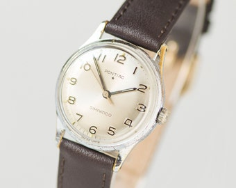 Tomboy wirstwatch Pontiac Simpatico, boyfriend's watch 50s Swiss made, classy watch her, delicate lady watch, premium leather strap new