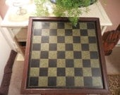 Antique Folk Art Marbleized Slate Checker Chess game board