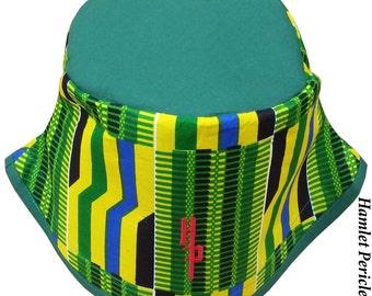 African Kente Green-top Bucket Hat | Kente Hat | African Hat | Kente Cloth | Green Yellow Hat | Stripe Hat by Hamlet Pericles | HP11916b