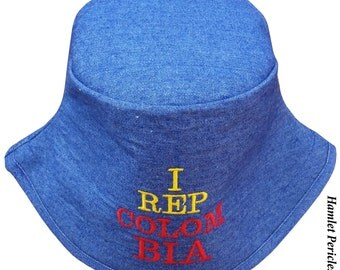 Blue Denim Unisex Bucket Hat | I Rep Colombia Embroidered Hat | Colombian | Yellow Blue Red Hat | Sky Blue Hat by Hamlet P. | HP31016c