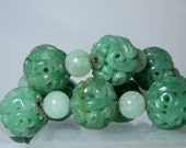 Rare Carved Jadeite Jade Bead Necklace 14k Yellow Gold Clasp Dragon Designs Imperial Court Beads Jadeite 18 inches long DanPickedMinerals