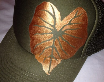 Olive trucker with hand painted goldy Kalo