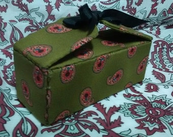 Reenactor/Historical Impression Hair Kit  - Green Cotton with PInk Paisley Box - by Anna Worden Bauersmith