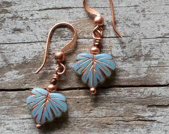 Leaf Earrings Petite Turquoise Copper Simple