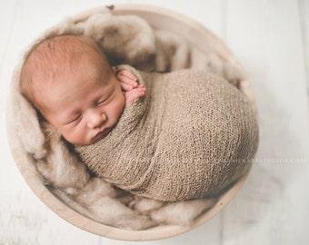 Stretch wrap - 'LATTE' newborn stretch wrap  / scarf - prop blanket - knitbysarah - Stitches by Sarah