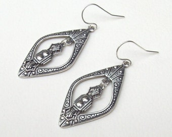 Open Art Nouveau Earrings, Silver Earrings, sterling , hooks, vintage style, dangle, art deco, fashion, 925, bridal