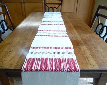 Vintage French Table Runner French Linen Red Hand Made French Country Cottage Rustic Textile France Decor