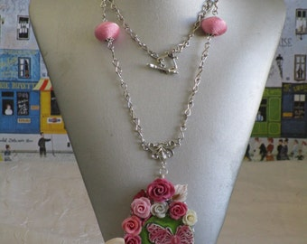 Collier pendentif Coeur en céramique turquoise