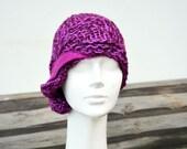 retro hat fuchsia knit cloche hat, hand knitted soft wool, acrilic yarn, felted decoration, ooak woman fashion art to wear unique 115
