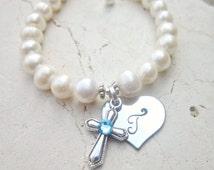 Girl's Baptism Gift. Birthstone Cross Bracelet. First Communion Gift. Girl's Genuine Pearl Initial Heart Bracelet. First Communion Jewelry